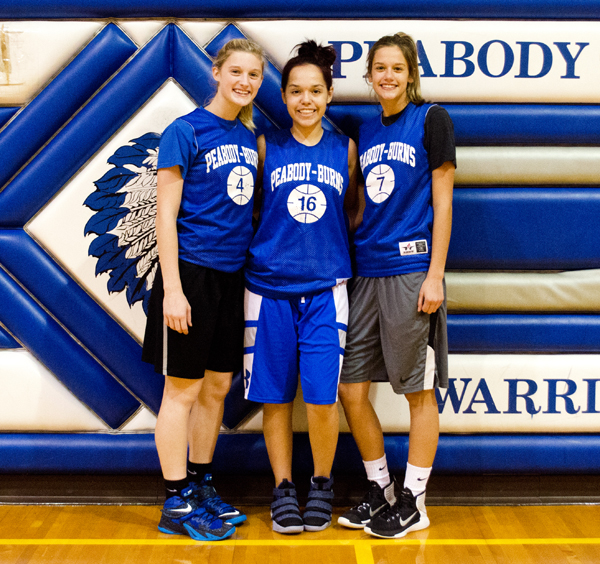 These seniors and letter-winners will form the nucleus of a young Peabody-Burns girls' basketball team this season: (from left) Tori Pickens, Precious Kerr, Sydney Hodges.