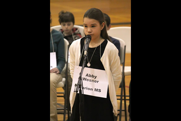 "Abby Wesner, representing Marion Middle School, spelled 11 words flawlessly on her way to becoming the 2018 Marion County Spelling Bee champion. Abby qualified for the Kansas Spelling Bee when she spelled ""sphinx"" correctly."