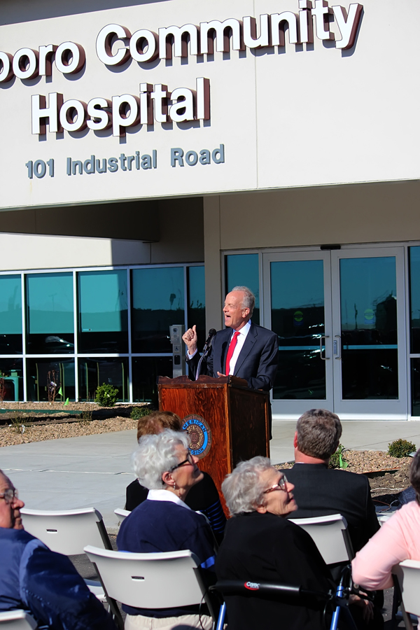 U.S. Senator Jerry Moran participated in the grand opening of the new Hillsboro Community Hospital facility May 6. Moran highlighted the dedication and persistence of all parties involved in the project.