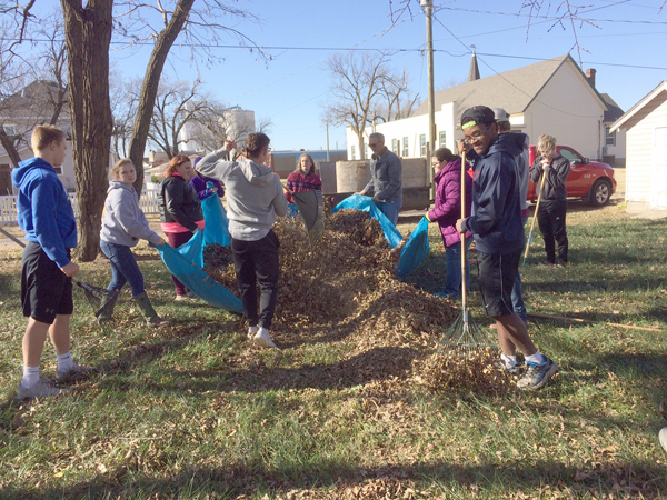 Hillsboro High School students raked leaves in November as a service project to help residents needing assistance.