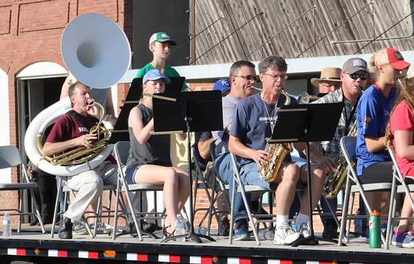 The Hillsboro summer band, a combination of Hillsboro High School band students and instrumentalists from the community, rolled though the Marion County Fair Parade in late July.