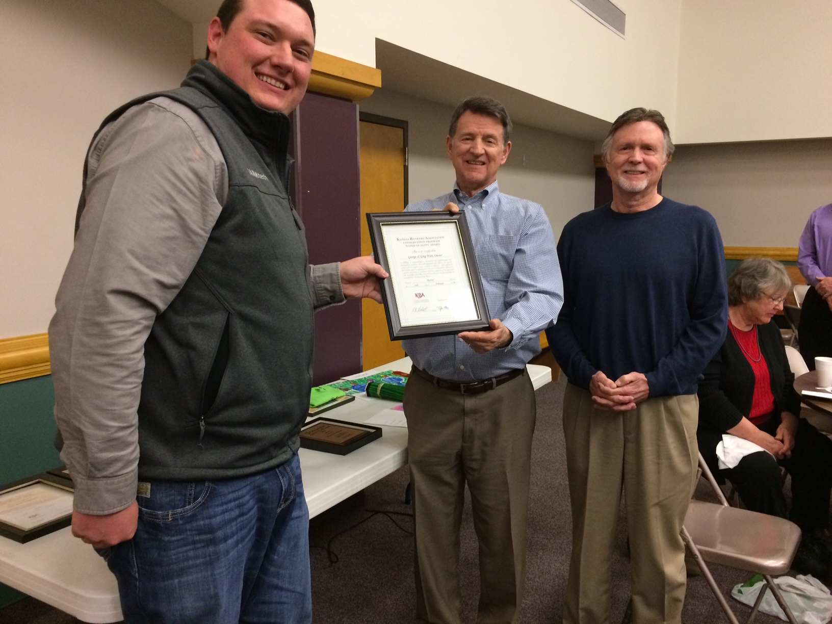 >The Wait brothers, George and Greg of Prairie Village, were co-recipients of the 2017 of the Kan­sas Bankers Association Soil Conservation Award for Marion County.