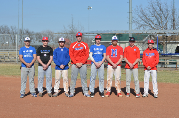 These seniors and returning letter-winners will anchor Marion's Class 3A state runners-up squad that seeks to make a return trip to the state tournament: (from left) Jacob Vondenkamp, Evann Heidebrecht, Corbin Wheeler, Blaine Mermis, Sam Zinn, Garrett Hoffner, Riley