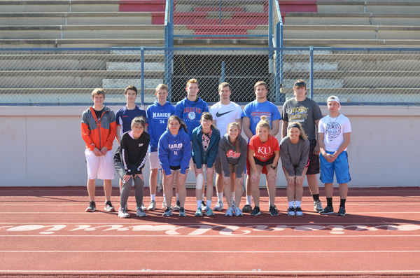 These seniors and returning letter-winners will anchor the Marion track and field team: front row (from left), Sabina Abuzarova, Elisa Barba Ortiz, Meggan Frese, Sam Richmond, Jessi Lewman, Courtney Herzet; back row, Colin Williams, Diego Ruiz Clemares, Juri Billerbeck, Zachary Stuchlik, Jack Schneider, Tyler Palic, Antone Vinduska, Austin Neufeld.