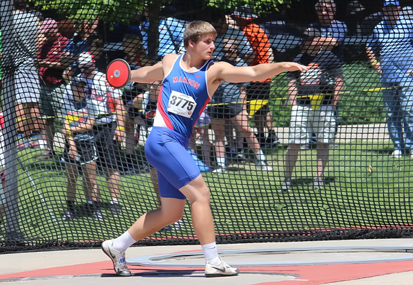 Marion's Tyler Palic winds up for another discus throw at the 2017 state track meet. As a junior, he won the gold medal with a throw of 175-11.<p>