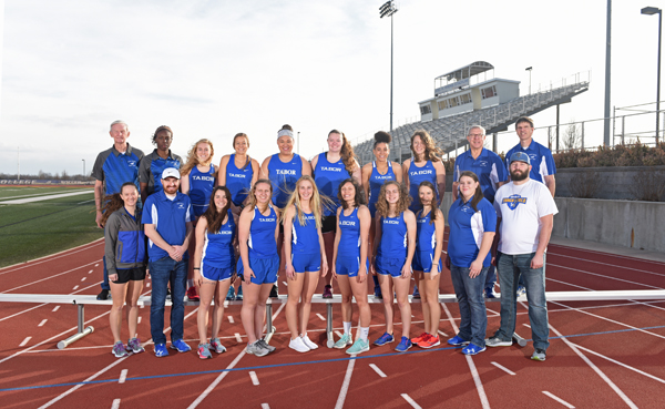 Tabor women's team has 14 athletes on the roster this season. Bluejay assistant coaches include Ken Christensen and grad assistant Samantha Williams (back row, from left); Joel Allen (second from left, first row); Tommy Kueser (far right, first row) and Andy Shewey (back row, far right).