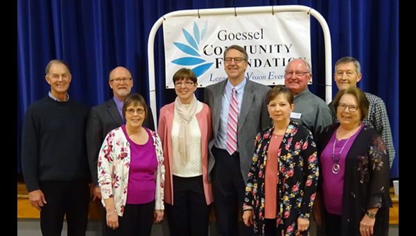 GCF Board members flank Rachel and Duane Goossen (middle) at the April 21 recognition dinner. Pictured are (from left) Dwight Flaming, John Fast, Peggy Jay, Rachel Goossen, Duane Goossen, Elaine Unruh, Myron Schmidt, James Voth and Carol Duerksen. The goal of the board is to raise an additional $75,000 by Dec. 31, 2020.