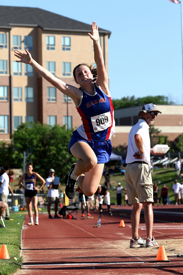 Emmy Hess jumps 15 feet, 10 inches to place seventh at the state track and field meet Friday afternoon. Phyllis Richert photo