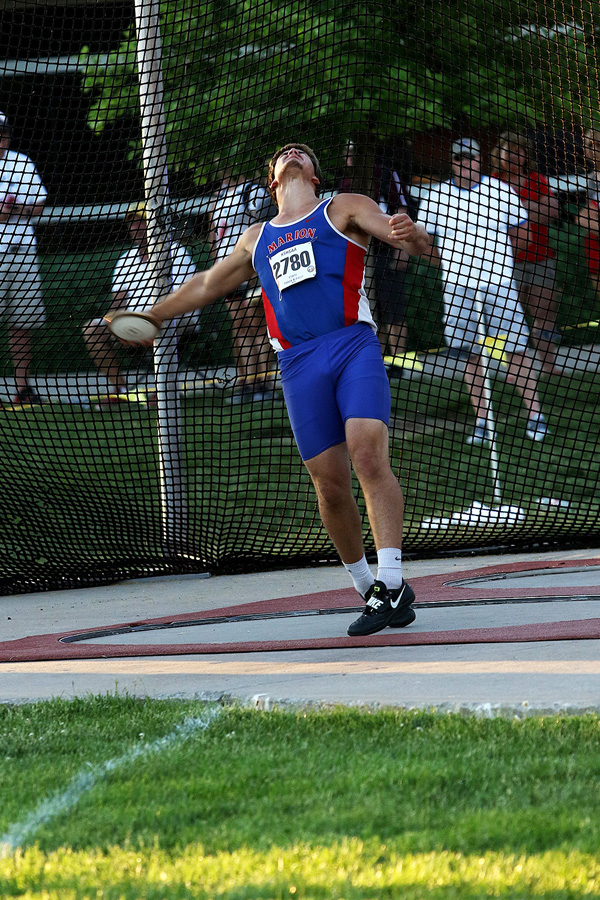 Tyler Palic sets a Class 2A state record in the discus with this throw of 182 feet, 6 inches on Friday evening. Phyllis Richert photo
