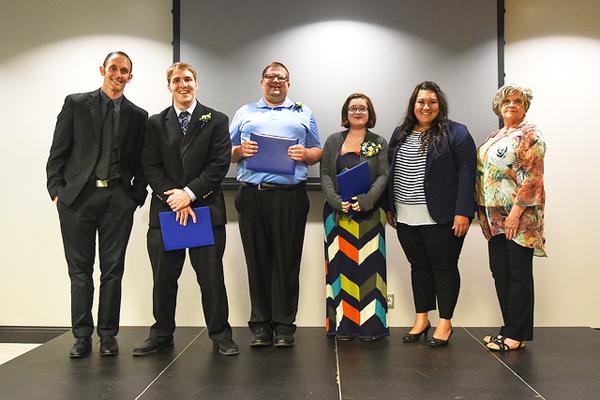 From left to right: Robert Haude, Ryan Hutton, Thomas Gill, Ally Larson, Daneen Landis as business liaison, Izzie Klassen as skills trainer