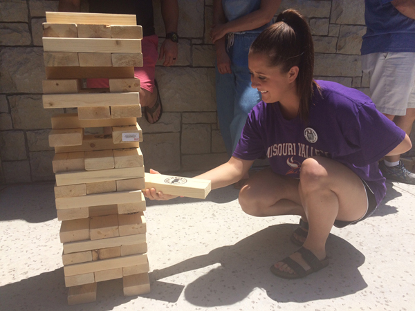Adults were invited to play an adult-sized game of Jenga, at their own risk.