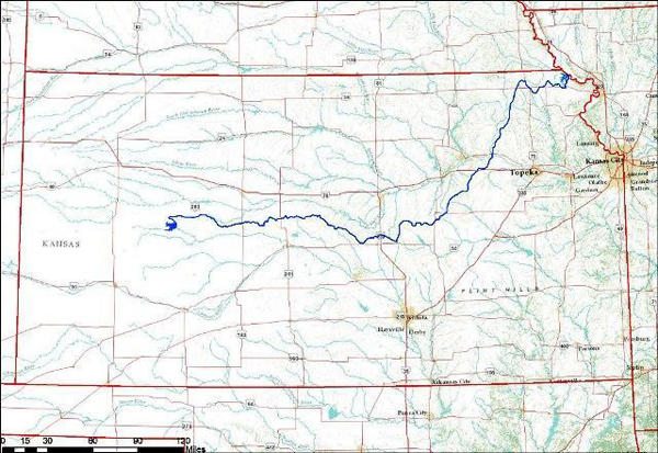 "State officials have discussed the prospect of the ""Great Canal Of Kansas"" shown on this map."