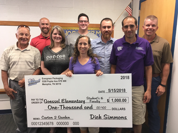 The Goessel School Board accepted a $1,000 check from Evergreen Packaging at their last meeting. Courtesy Photo