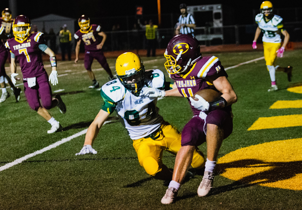 Darian Ratzlaff intercepts an Olpe pass in the end zone to save a score on Friday night. Hillsboro will play Yates Center at home in the first round of the playoffs on this upcoming Friday night. Karrie Rathbone / Special to the Free Press