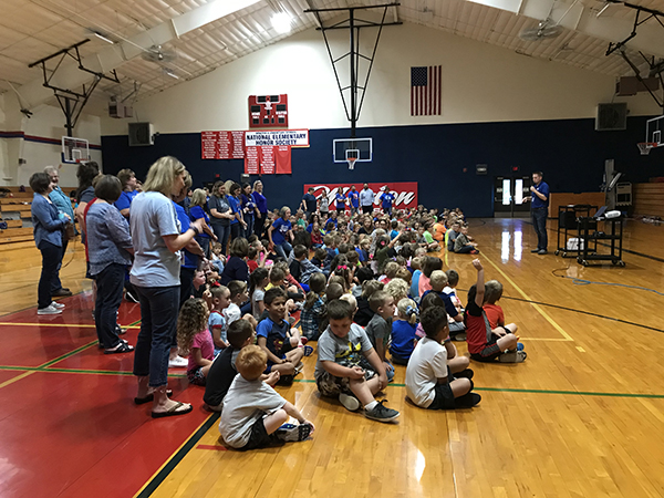 Marion Elementary School students attended an assembly where they learned that they won the National Blue Ribbon School award. The school was one of 300 public schools in the nation to win. Laura Fowler Paulus / Free Press