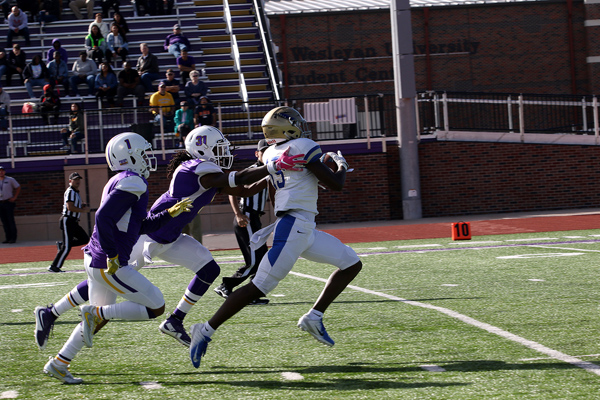 CJ Tate runs his pass reception down to the 4 yard line, setting up Tabor for it's sole touchdown of the game a couple of plays later during the game with Kansas Wesleyan on Saturday. Tabor will play it's homecoming football game on Saturday at 2 p.m. against Sterling.