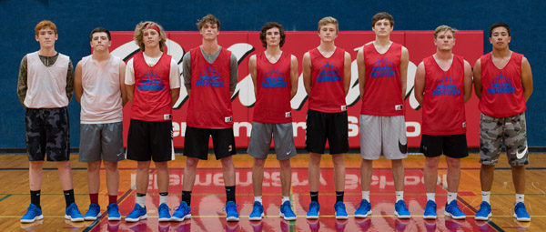 These seniors and returning letter-winners will anchor the Marion boys basketball team this season. They are, from left, Luke Dawson, Hunter Helmer, Jaxton Tracy, Noah Dalrymple, Sam Zinn, Eli Hett, Chase Stringer, Evann Heidebrecht, Brandon Nguyen.