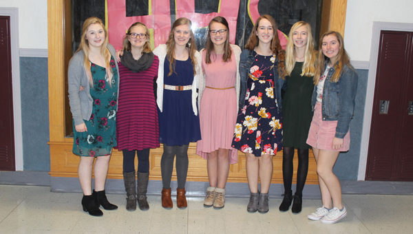 Surinda Bell, Haley Loewen, Eva Franz, Sarah Paulus, Kailee Funk, Kyla Isaac and Dani Klein are some of the ladies at Hillsboro Middle High School participating in Dressember, a worldwide fundraiser to put an end to human trafficking. They will be wearing a dress every day of December to raise awareness and funds for the cause. Laura Fowler Paulus / Free Press