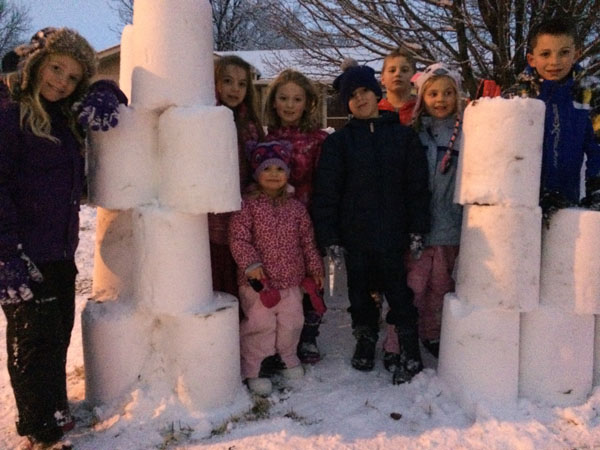 Children and snow fort