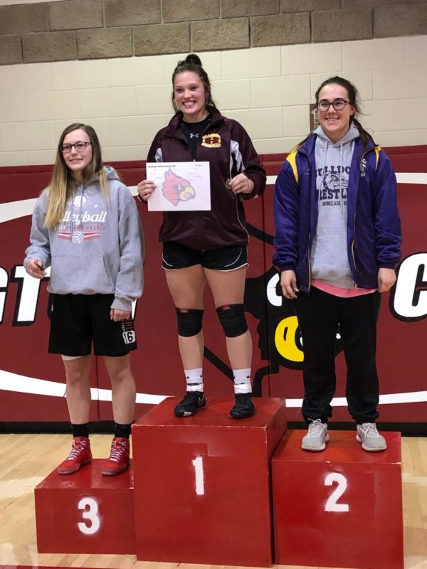 Taryn Norstrom, middle, took first for Hillsboro in the Hoisington Cardinal Classic 2019.