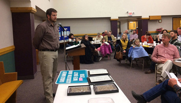 Matt Meyerhoff, NRCS supervisory district conservationist in Marion, Rice and McPherson counties, provided updates on what's been happening with conservation practices. Meyerhoff said he was also impressed with the turnout at the 73rd annual meeting of the Marion County Conservation District. Patty Decker/Free Press