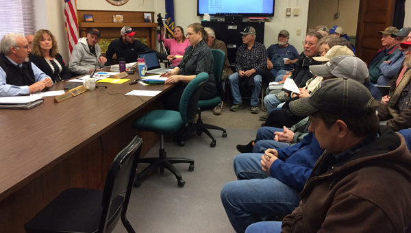 More than 30 people attended the Tuesday meeting of the Marion County Commission to discuss their thoughts on placing another wind farm in the southern part of the county. Those who spoke in favor of a moratorium until more information is made available included Staci Janzen, Jeremy Loewen, Glenn Litke, Randy Eitzen, Larry Larsen, Collin Quiring, Charlie Loewen and Chase Gann. Speaking on behalf of Expedition Wind Turbines was Jesse Hopkins-Hoel with National Renewable Solutions.