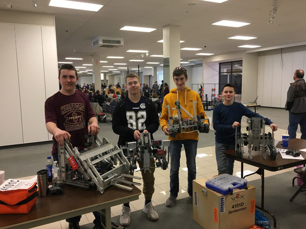 Photo provided From left, Jacob Denholm, Austin Rempel, Noah Bartel and Paul Glanzer represented Hillsboro High School at state in robotics on Saturday, March 3. Photo provided