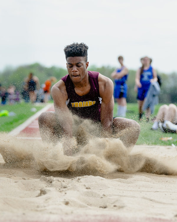 Josiah Driggers won first in the long jump at the James Thomas Invitational with a jump of21-11.00. Karrie Rathbone/Special to the Free Press