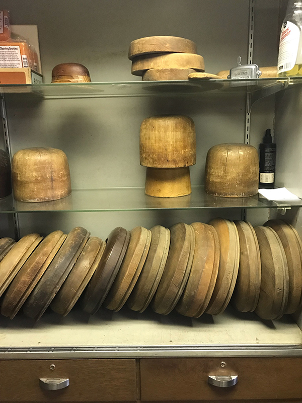 Reed uses authentic, original tools of the trade including these old hat forms that are close to 120 years old. Laura Fowler Paulus / Free Press