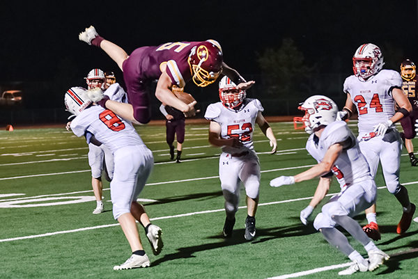 The Trojans lost to the Hesston Swathers 43-14 on Friday at home. Matthew Potucek had a lot of field play including a 56 yard run. The Trojans host Lyons for their homecoming game on Friday, Sept 13. Karrie Rathbone/Free Press