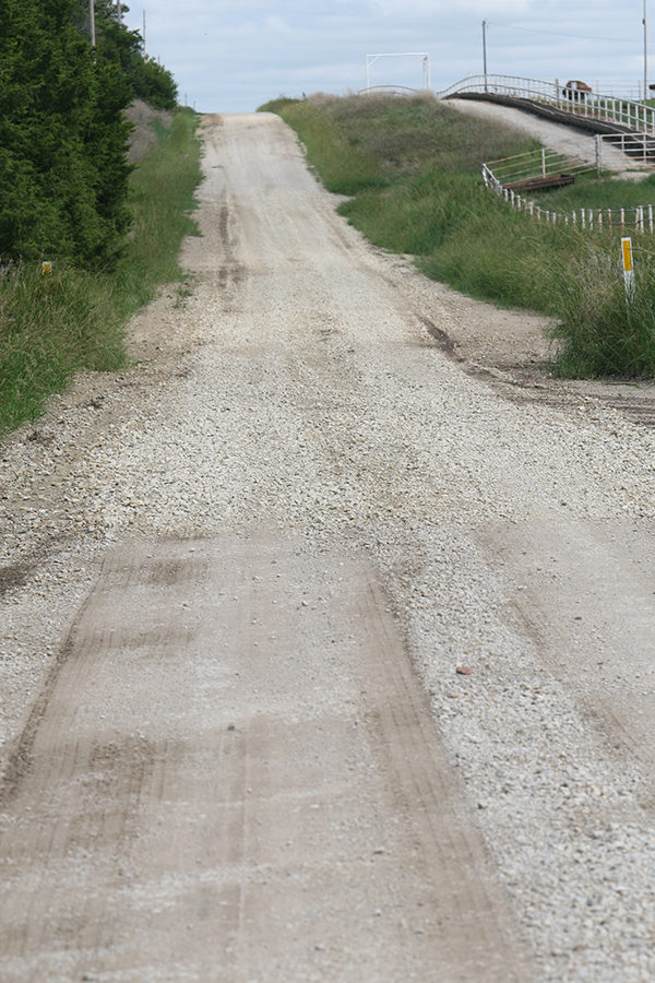 This low patch of road on 190th between Diamond and Eagle has been covered with rock by the county to help make it more drivable.Laura Fowler Paulus/Free Press