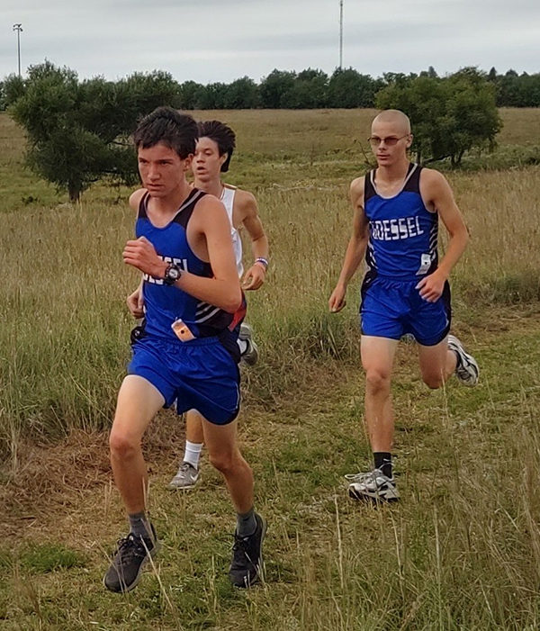 Dustyn Gagnon and David Sawyer pace themselves in their race in Lawrence on Saturday. Provided photo