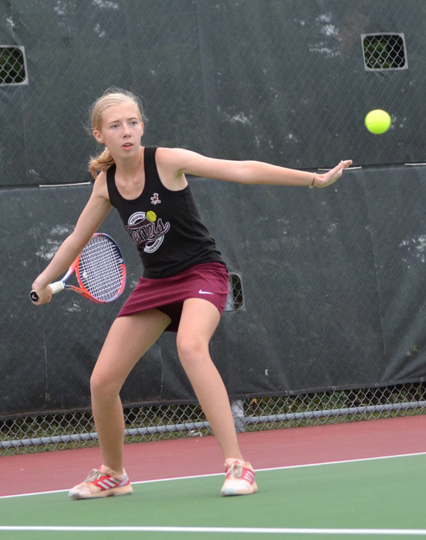 Kyla Issac took second in doubles in Thursday's meet. The Trojans played at home. Laura Fowler Paulus / Free Press