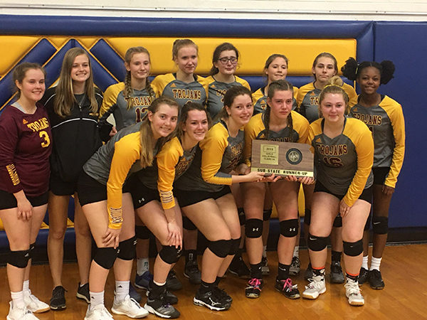 The Hillsboro Volleyball girls beat Chase County 25-13 and 25-15, and then went on to defeat West Elk 2-0, advancing to the championship game in sub-state. They lost the first game to Belle Plaine, came back to win the second game and then lost the final game,ending up sub-state runner ups.
