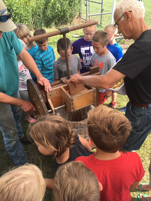 Students at Goessel Elementary School got the chance to make fresh apple cider from the school's apple trees.